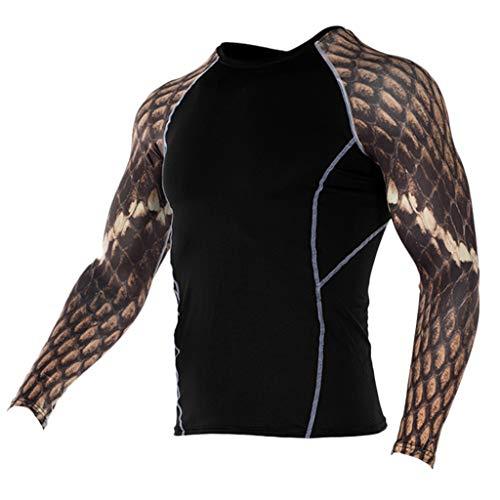 Kompressions-T-Shirt für Herren, Sport-Fitnessoberteil, schnelltrocknendes, schwarzes Langarm-T-Shirt für Herren, atmungsaktives Sportoberteil für Herren, Fitness, Jogging, Bodybuilding