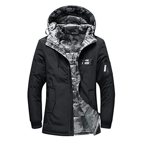 Preisvergleich Produktbild Luckycat Herren Winter Positive und Negative Wear Reine Farbe Pocket Zipper Hooded Jacket Coat Winterjacke Steppjacke Daunenjacke Parka Mäntel Jacken