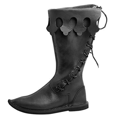 Lomelomme Halloween Herrenstiefel Lokomotive Retro Style Festival Cosplay Kreuz gebunden Mittelschaft Schuhe Classic Boots Kreuzgurt