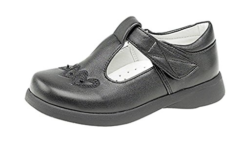 Girls Touch Fastening T-bar Shoes Black