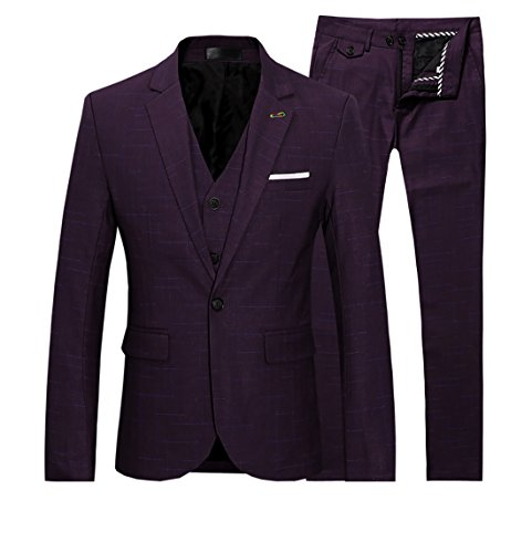 Mens Checkered Wedding Suit 3 Piece Slim Fit One Button 6 Colors