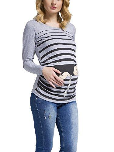 Baby Flucht - Lustige witzige süße Umstandsmode / Umstandsshirt mit Motiv für die Schwangerschaft / Schwangerschaftsshirt, Langarm (Grau, Medium) (Super Shaper Footless)