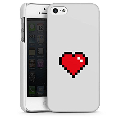 Apple iPhone 5s Housse Étui Protection Coque C½ur 8 bit C½ur Amour CasDur blanc