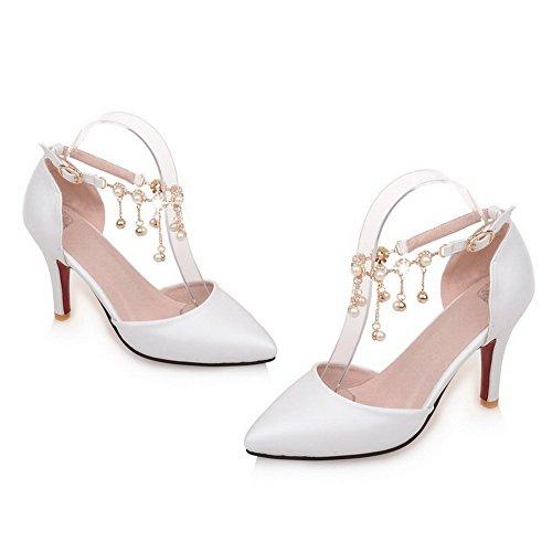 AllhqFashion Femme Pointu à Talon Haut Matière Souple Couleur Unie Boucle Chaussures Légeres Blanc
