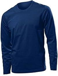 "Hanes Long Sleeve Heavy T Shirt - 7 Colours (XL - 44"", NAVY BLUE)"