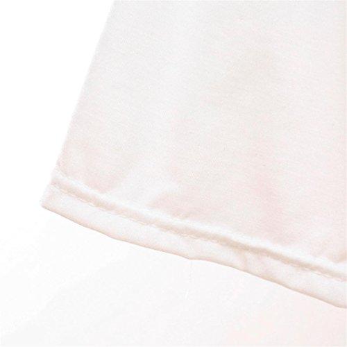 CYBERRY.M Femme Fille Manches Courtes Lâche Lettre T-shirt Chemise Blouse Top Blanc