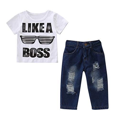 Julhold Kleinkind Kinder Jungen Schöne Outfits Kleidung Brief Drucken T-Shirt + Jeans Hosen Jeans Set 2019 Neu 1-6 Jahre