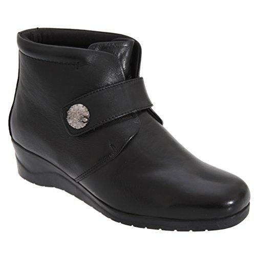 Mod Comfys Damen Stiefel / Stiefelette / Ankle Boots, mit Schnalle und Klettverschluss Schwarz