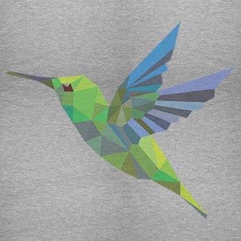 TEXLAB - Polygon Kolibri - Herren Langarm T-Shirt Grau Meliert