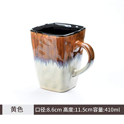 MK MUG Vintage Keramik Tasse Kreative Tasse Square Drink Cup Kaffeetasse Teetasse - Gelb