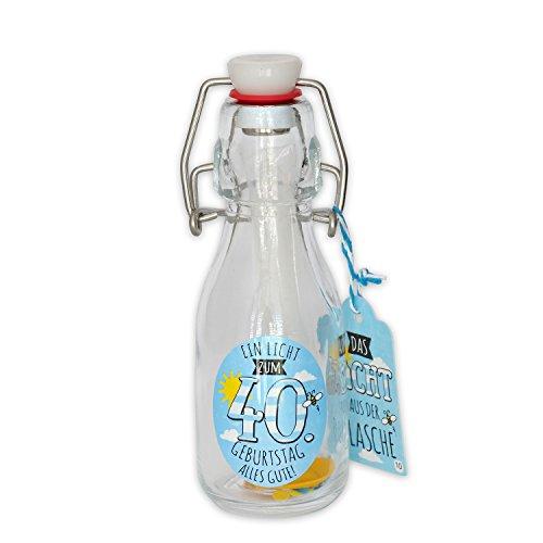 Gruss und Co Licht aus der Flasche 40. Geburtstag Geschenkartikel, Glas, Mehrfarbig, 5.5 x 5.5 x 14.5 cm Eine Kerze Co