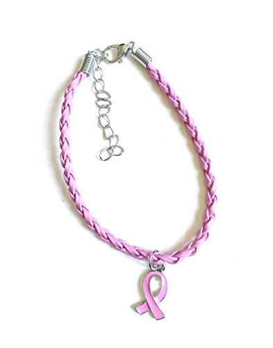 STRASS & PAILLETTES Bracelet Octobre Rose Lutte Contre Le Cancer en Simili Cuir Rose et Ruban Rose