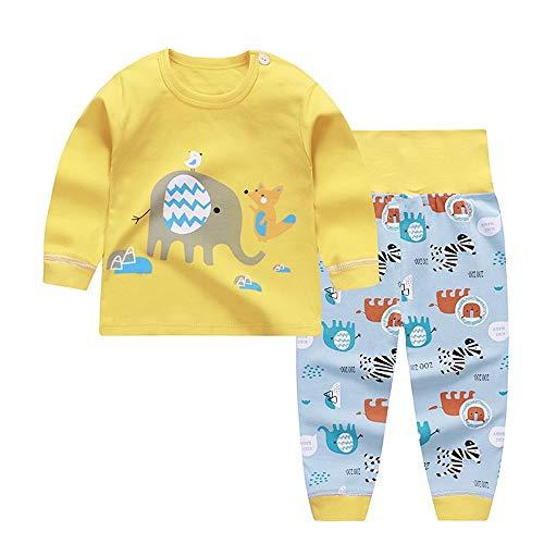 Chickwin Conjuntos de Pijama para Bebés Niños Niña, Unisex Manga Larga Top Pantalones de Cintura Alta Pijamas Enteros 0~5 Años (100, Elefante Amarillo)