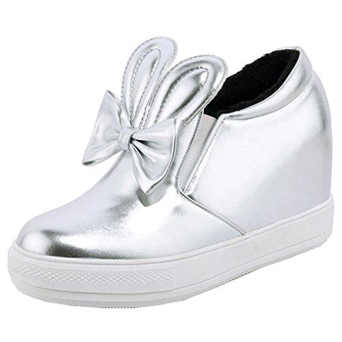 ENMAYER Femmes Ladies PU Matériel Casual Round Toe Hauteur Augmenter Flatform Chaussures Cheville Avec Bowtie Argent