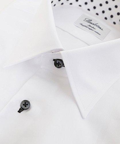 Stenstroms Uomo Slimline polka dot camicia trim Bianco Bianco