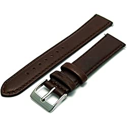 Soft Genuine Leather watch Strap Band 18mm, Brown, Chrome (Silver Colour) buckle