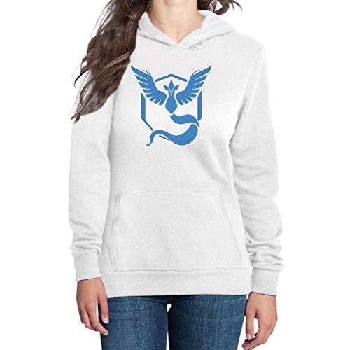 Go Team Blau Team Mystic Logo Frauen Kapuzenpullover Hoodie XX-Large Weiß (Damen-team-logo-t-shirt Blaue)