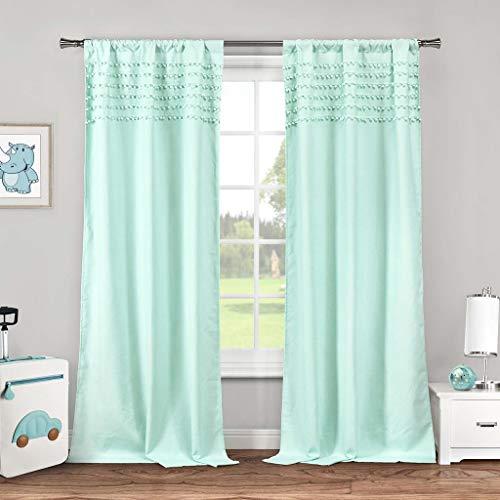 Lala + Bash - Home Fashion Pompom Trim Top Bordüre Stange Top Gardinen für Wohnzimmer & Schlafzimmer Set von 2 Panels (96,5 x 213,4 cm) - Seafoam Blue