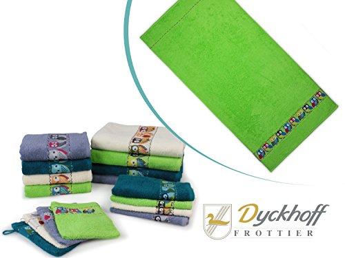 """Frottierserie """"Eule"""" von Dyckhoff mit gewebter Bordüre - erhältlich in 4 Farben und 4 Größen, 1 Duschtuch 70 x 140 cm, grün"""