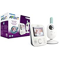 Philips Avent Video-Babyphone, 2,7 Zoll Display, ECO-Mode, 10 Std. Akku, SCD620/26, weiß-türkis