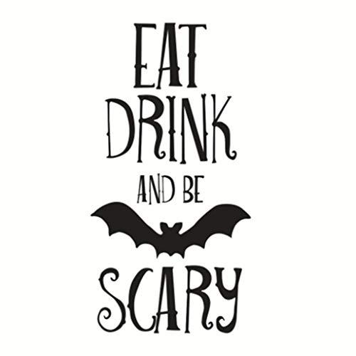 gh Buchstaben EAT Drink Scary Halloween Wandaufkleber Aufkleber abnehmbare PVC Paste wasserdichte Wand-Dekor ()