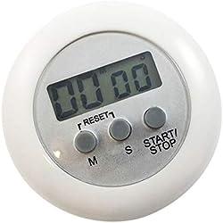 Compte à rebours de Cuisson Chronomètre Mini magnétique LCD Ronde numérique Cuisson Cuisine Gadget Compte à rebours Alarme minuterie Blanc