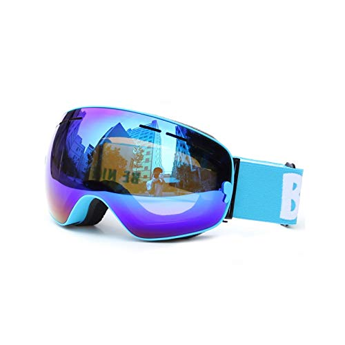 Gnzoe TPU+PC Snowboardbrille Zweilagige Anti-Fog PC Objektiv Schneebrille (Cocker Myopie Brille) Blau Braun Blau