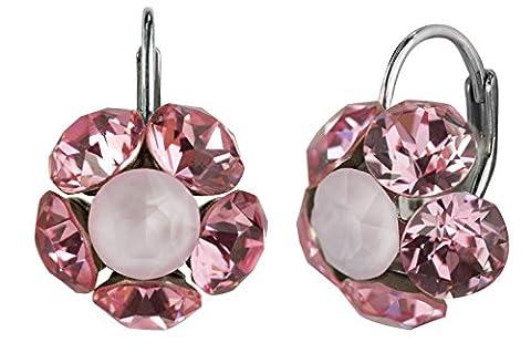 Boucles d'oreilles pendantes Blossom demi-sphère en 6mm Cristaux Swarovski
