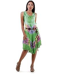 Strand Kleid Carmen Boho Hippie Sommerkleid Minikleid Geblümt* XS S M-34 36 38