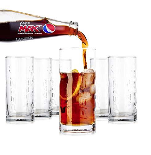 Tivoli Pepsi Cola Gläser- 350ml - Set aus 6 - Hochwertige Gläser - Spülmaschinenfest - Kristallgläser