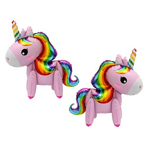 F Fityle 2 Piezas Globos de Unicornio de Pie 3D Caminando Decoración Accesorios Decorativos para Cumpleaños - Rosa