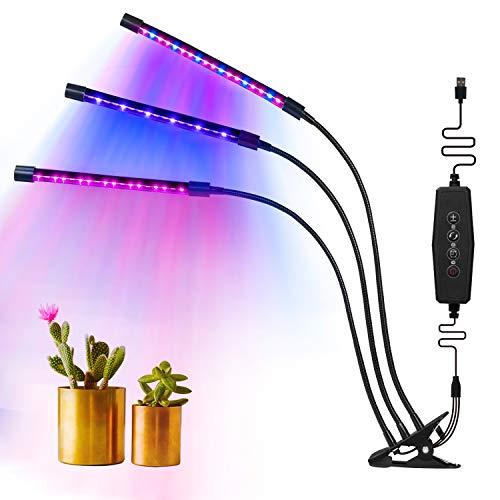 MixMart Lampada per Piante, Triple Spectrum Head Grow Light, 54 LED 4 Livelli di regolazione, 360° Flessibile Collo di Cigno, Lampada Pianta Interno per piante da interno Serra da coltura idroponica