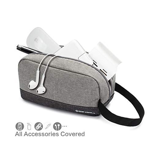 SINSIM Elektronische Accessories Carrying Tasche Case für Ladegerät USB Kabel SD Speicherkarten Kopfhörer Flash Hard Drive Wireless Mouse Power Bank und More, Grau - 4