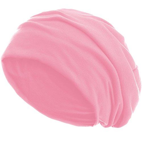 style3 Slouch Beanie aus atmungsaktivem, feinem und leichten Jersey Unisex Mütze Haube Bini Einheitsgröße, Farbe:Rosa