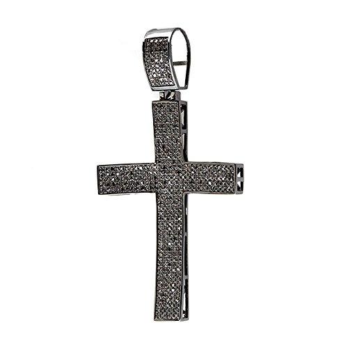 Anhänger Diamond Black Karat 2 (1,95Karat (ctw) schwarz rhodiniert Sterling Silber Diamant Rund Damen Kreuz Anhänger 2ct)