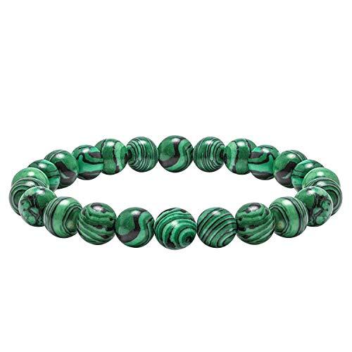 J.Fée 8mm Natürliche Edelstein perlen Armbänder Yoga Achat Edelstein Armband Unisex Stretch/Einstellbar Armbänder für Damen und Herren (Synthetischer Malachit)