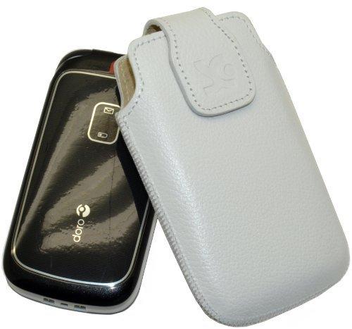 Original Suncase Tasche für Doro 2414 / Leder Etui Handytasche Ledertasche Schutzhülle Case Hülle / in vollnarbiges-weiss