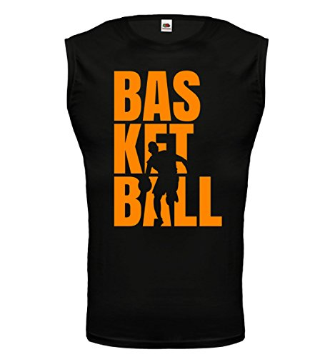 buXsbaum® Tank Top Basketball Type Black-Neonorange