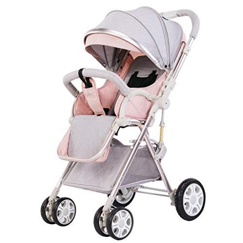 Standardkinderwagen Kinderwagen Ultra Light Portable Klappkinderwagen Jogging Kinderwagen Baby Umbrella Allrad Stoßdämpfer Zurück Einstellbare 3 Farben (Farbe : Rosa) -