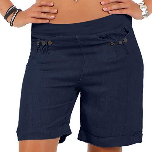 Yvelands Damen Shorts Lässige Boho Solid Button Pocket Shorts Gummiband Bund Hosen