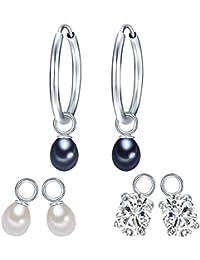 Valero Pearls Classic Collection Damen-Creolen Hochwertige Süßwasser-Zuchtperlen in ca.  5-6 mm Tropfenform weiß / pfauenblau 925 Sterling Silber   Zirkonia weiß    60840001