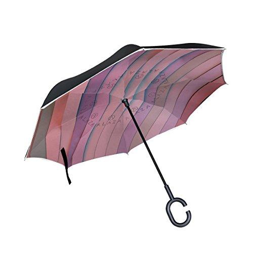 Isaoa grande ombrello invertito ombrello antivento doppio strato reversed ombrello pieghevole per auto pioggia esterni, manico c-shaped self-standing composto da strisce colorate ombrello