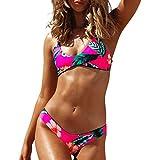 Yvelands Damen Bikini Set Zweiteiler Split Bikini Badeanzug Beachwear Bademode Tankini(CN-M,Pink)