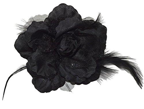 Haarschmuck mit Federn Haarblume Ansteckblume Ansteckblüte Glitzer Hochzeit Karneval (Schwarz)
