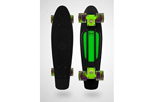 Penny Skateboard Noir-Custom-Tourbillon vert