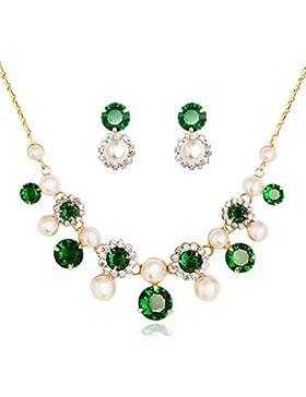 ❤Valentinstagsgeschenke❤ Swarovski Elements Schmuck-Set Zirkonia 14K Gold Grün Neoglory Jewellery