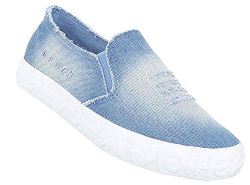 Damen Halbschuhe Schuhe Slipper Loafer Mokassins Flats Slip On Blau Schwarz 36 37 38 39 40 41 Hellblau