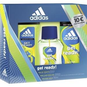 adidas Get ready for him Eau de Toilette + Deodorant Body Spray + Shower Gel + Online Shop Gutschein, 300 ml