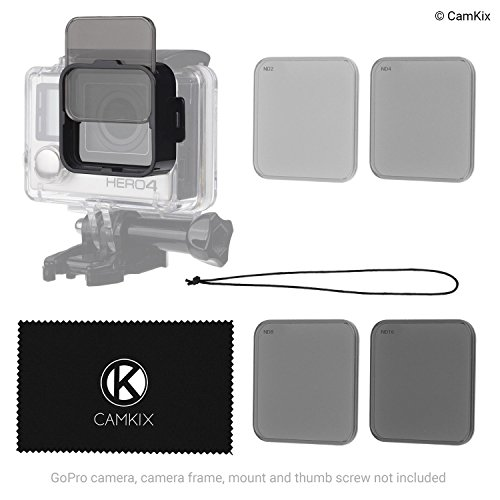 CamKix ND Filter-Pack kompatibel mit GoPro Hero 4/3+ - Auf Das Wasserdichte Gehäuse klicken - 4 Neutraldichtefilter (ND2, ND4, ND8, ND16) - Perfekt für Luftaufnahmen mit Drohnen