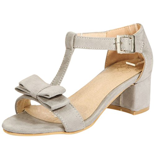 Oasap Women's Open Toe Bow T-strap Block Heels Sandals Light Grey